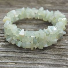 Spiral bracelet with Jade chips. This New Jade is a semi-transparent stone in a very light green colour. by StudioPaars on Etsy #StudioPaars