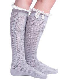 Another great find on #zulily! Light Gray Pointelle Chevron Knee-High Socks - Women #zulilyfinds