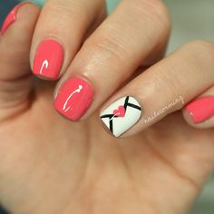 Easy love letter nail art (Valentine's Day nails) inspired by @thenailtrail ... Base is Picture Polish: Watermelon ... a coral pink creme nail polish