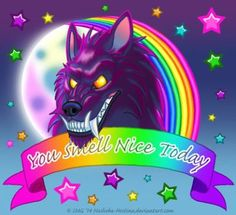 """Guys, I swear I had good intentions starting out. I was thinking """"Man, you know what we need? We need motivational werewolves. You Smell Nice Today -Lisa Frank style Werewolf Werewolf Ears, Lisa Frank Stickers, Lion, Medieval Fantasy, Fantastic Art, Bad Wolf, Art Google, Word Art, Illustration Art"""