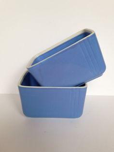 Rectangular Leftover China Refrigerator Container in Westinghouse-Delphinum Blue by Hall China Co.