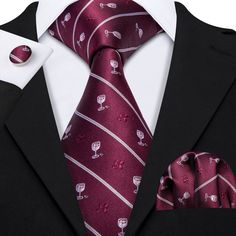 Item Type: Neck Tie,Handkerchief,Cufflinks Material: SILK Model Number: Brand Name: Barry. Shirt And Tie Combinations, Cufflink Set, Mens Silk Ties, Red Pattern, Tie Set, Pocket Square, Mens Fashion, Fashion Suits, Black Stripes