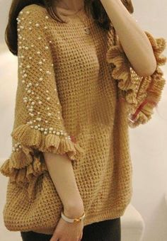Pearl beaded sweater love the pattern -- different color