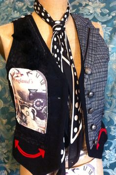 Retro G Couture Handmade Ooak England collage Steampunk Dandy Vest Waiscoat Alternative Avant Garde Victorian Edwardian Gothic Lolita Dolly Kei Mori Girl Fashion Style