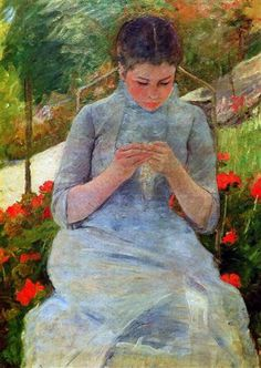 Woman with needlework Sun -Artist: Mary Cassatt Style: Impressionism Genre: portrait Gallery: Musée d'Orsay, Paris, France