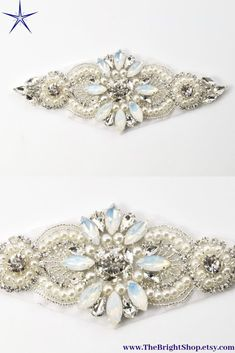 Make your own bridal belt and sash with our opal rhinestones appliques. The Bright Shop have a good selection of crystal trim and rhinestone appliques perfect your you DIY accessories.   Click through to see more at www.TheBrightShop.etsy.com  #RhinestoneApplique #sash #belt #DIYaccessories Rhinestone Appliques, Gold Rhinestone, Rhinestones, Applique Wedding Dress, Applique Dress, Diy Accessories, Wedding Accessories, Diy Wedding Supplies, Crystal Bouquet
