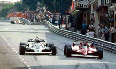 f1 Monaco grand prix 1981. Alan Jones- Williams FW07C Ford Cosworth, Gilles Villeneuve Ferrari 126CK - action - winner - Overtaking.