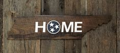 HOME Tennessee State Sign with White and Blue Tri-Star: Hand-Painted on Reclaimed Wood Barnwood Lumber Wood Lumber, Reclaimed Barn Wood, Vintage Flowers Wallpaper, Flower Wallpaper, State Of Tennessee, Nail Holes, Wood Pallets, Wood Signs, Custom Design