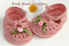 \ PINK ROSE CROCHET /: Sapatinho Boneca Rosa Antigo 3
