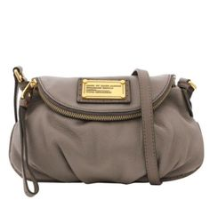 MBMJ Marc By Marc Jacobs Classic Q Mini Natasha Warm Zinc Grey Leather Crossbody Handbag