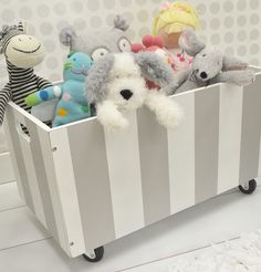 New Gray Stripe Wooden Toy Crate!