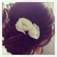 Bridal up style! Low detailed bun with fresh flowers! #lowbun #weddinghair #weddingupstyle #bridalupstyle #detailedbun Hair  makeup by Harpier - Mobile hair  makeup stylists Brisbane, Gold Coast, Sunshine Coast www.harpier.com #harpier