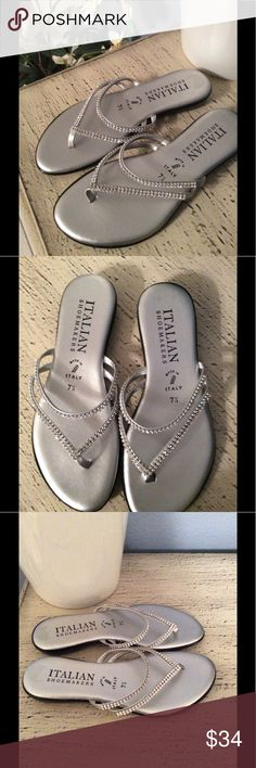 🌺BRAND NEW-ITALIAN SHOEMAKERS SANDALS FROM ITALY 🌺 BRAND NEW- ITALIAN SHOEMAKERS SANDALS. MADE IN ITALY. SO CUTE AND COMFORTABLE. THESE SANDALS ARE SILVER WITH GORGEOUS RHINESTONES. YOU CAN WEAR THEM FOR CASUAL OR DRESS. WEAR THEM WITH SHORTS OR JEANS OR DRESS OR SKIRT OR PANTS OR SKIRT. THEY ARE VERY COMFORTABLE. YOU ARE GOING TO LOVE ❤️ WEARING THESE SANDALS. ITALIAN SHOEMAKERS Shoes Sandals