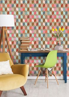This fascinating Coloured Geometry Wallpaper by designer MINDTHEGAP is a contemporary geometric bold print in blue, red, pink and brown. Get a new fresh feeling on your walls.