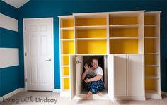 Creative bookshelf idea to disguise attic room storage. Ikea hack.