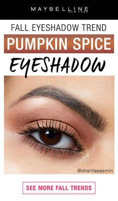 Take your love for Pumpkin Spice to the next level with Pumpkin Spice eyeshadow!  This warm, coppery eyeshadow look is the perfect fall makeup look!  Click through to see more fall makeup trends.