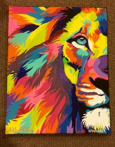 """11x14"""" acrylic on canvas colorful lion abstract painting 05/10 ..."""
