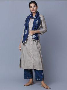 Beige Blue Cotton Embroidered Kurta with Pants and Stole - Set of 3 Kurta Designs Women, Salwar Designs, Blouse Designs, Fashion Pants, Look Fashion, Indian Fashion, Fashion Outfits, Indian Attire, Indian Wear