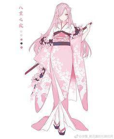 Anime Girl Dress, Anime Kimono, Anime Outfits, Girl Outfits, Character Art, Character Design, Drawing Clothes, Kawaii Art, Fantasy World