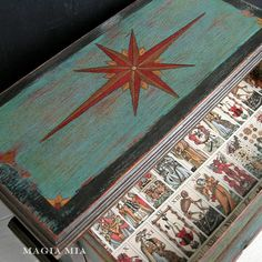 Magia Mia: Gypsy Fortune Teller Tarot Jewelry Chest Chalk Paint Teal Red Bronze Black