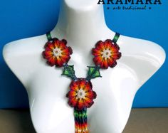 Mexican Huichol Beaded Red Flower Necklace CFG-0068   Huichol art - Mexican necklace - Mexican Jewelry - Huichol Necklace - Huichol beadwork