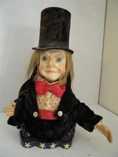ARE 19th CENTURY COMPOSITION FOLK ART FIGURAL AUTOMATON W/GLASS EYES& REAL HAIR