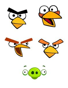 Angry bird treat bag faces