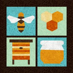 Honey Bee - 4 Quilt Block Patterns - Foundation Paper Piece Patch - PDF Download May 26, 2015 at 10:50PM