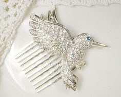 Rhinestone Bird Bridal Hair Comb, Silver Pave Clear Crystal Hummingbird Vintage Hairpiece, Something Blue Old Wedding Headpiece Accessory by AmoreTreasure