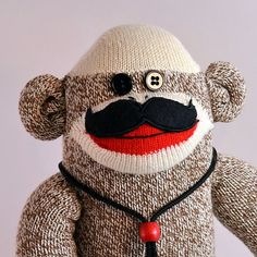 Movember Mustache Sock Monkey Doll  four mustache by MarysMonkeys, $38.50