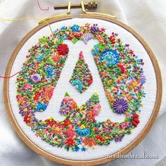 Voided Floral Monogram A finished via needlenthread.com