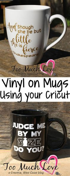 Looking for ideas of putting vinyl on mugs? Use your Cricut to customize any mug! Step by step instructions, as well as a list of supplies included in the blog.