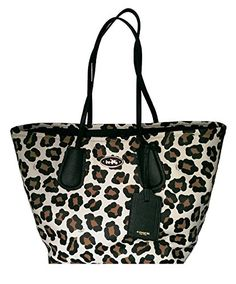 Women's Top-Handle Handbags - Coach Taxi Ocelot Print Leather Tote  WhiteMulticolor * Click on the image for additional details.
