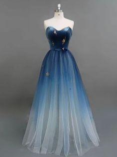 Beautiful A-line Sweetehart Prom Dress Ombre Prom Dresses Blue Long Evening Dress - Evening Dresses Ombre Prom Dresses, Open Back Prom Dresses, Blue Evening Dresses, Cute Prom Dresses, Tulle Prom Dress, Dance Dresses, Ball Dresses, Elegant Dresses, Pretty Dresses