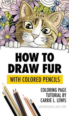 Learn how to create furry textures on your coloring pages with this colored pencil fur tutorial by Carrie L. Lewis, and bring your furry friends to life! Coloring Tips, Adult Coloring, Coloring Books, Coloring Pages, Realistic Drawings, Colorful Drawings, Art Drawings, Horse Drawings, Colored Pencil Tutorial
