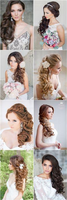Half-up Half-down long bridal hairstyles for wedding pictures - Deer Pearl Flowers