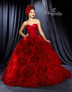 with all the recent fashion talk about color here is a hot 'red' stunner from us! Wedding Dresses, Bridal Tiaras, & Bridal Veils at Symphony Bridal Collections
