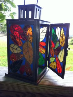 Stained glass candle lantern with multicolored by PatsMosaicGarden Stained Glass Flowers, Stained Glass Lamps, Stained Glass Designs, Stained Glass Projects, Stained Glass Patterns, Fused Glass, Mosaic Art, Mosaic Glass, Candle Lanterns