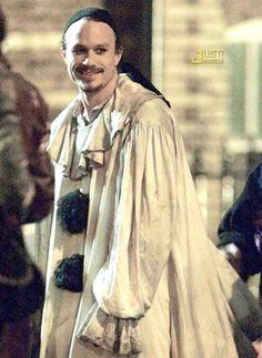 Heath Ledger in his pierrot clown costume in The Imaginarium of Doctor Parnassus (His last film)