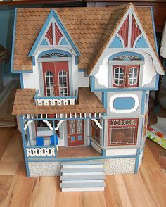 Vintage 6 Room Linfield Wooden Dollhouse Fully Assembled with Some Furniture | eBay