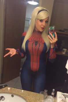"""nicolejeancosplay: """" Dressed as Gwen Stacy in Spidey's suit."""