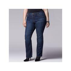 Plus Size Simply Vera Vera Wang Modern Fit Bootcut Jeans, Women's, Size: 16W Short, Med Blue