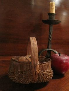 Antique 1800's Miniature Woven Splint Basket w Best Patina  Sold North Bayshore Antiques