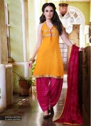 Awesome Yellow Color Unstitched Patiala Suit With Gota Patti Work