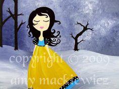 Winter Dance Whimsical Art Print from Original by ArtofAmy on Etsy, $15.00