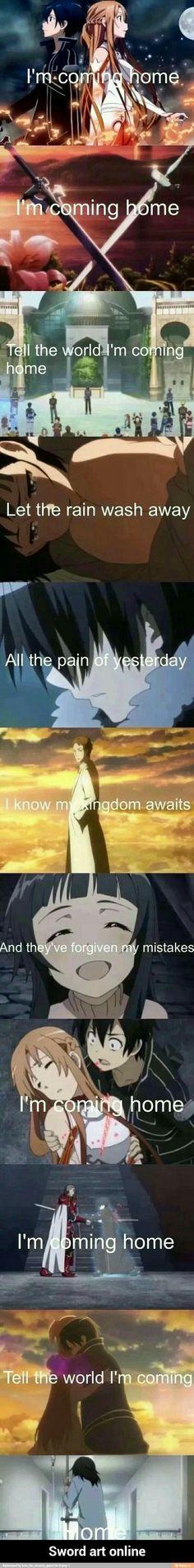 Sword Art Online characters, sad, text, lyrics, I'm Coming Home; Sword Art Online