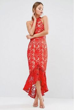 Red halter midi lace dress+golden ankle strap heeled sandals. Summer Party Outfit 2016