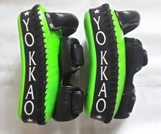 YOKKAO CURVED KICKING PADS NEON GREEN/BLACK Sz:S Muay Thai, Sports Equipment, Neon Green, Kicks, Boxing, Black, Image, Design, Black People