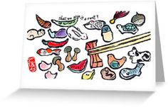 CHOPSTICK RESTS Printed Etegami Greeting Card by dosankodebbie, $2.30