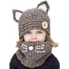 Winter Children's Cat Knit Hat Ring Scarf Set